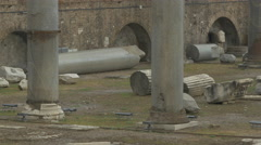 Ruined columns in Piazza Foro Traiano, Rome Stock Footage
