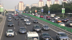 Traffic on the freeway in Beijing, China Stock Footage
