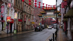 Manchester - Empty China town in the rain, England, Europe Stock Footage