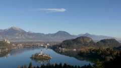 Amazing landscape and Pilgrimage Church on an island in Lake Bled, Bled - stock footage