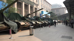 Army tanks in the military museum in Beijing, China - stock footage