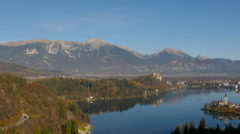 Panoramic view of beautiful city of Bled Stock Footage