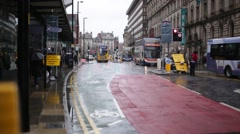 Manchester central traffic in the rain, England, Europe Stock Footage