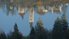 Beautiful water reflection of Pilgrimage Church in Lake  Bled - stock footage
