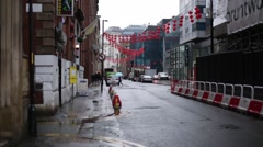 Manchester China town in the rain, Manchester, England, europe Stock Footage
