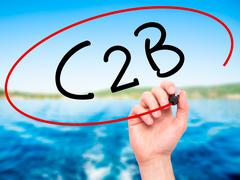 Man Hand writing C2B with black marker on visual screen - stock photo