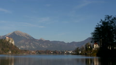 View of the main attractions of Bled: the castle and the church Stock Footage