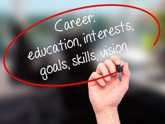 Man Hand writing Career: education, interests, goals, skills, vision with bla Stock Photos