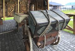 Cart with the old trunk. Peasant Museum in Tourist Complex Siberian Podvorye - stock photo