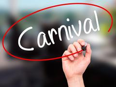 Man Hand writing Carnival with black marker on visual screen Stock Photos
