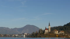 Sunning panoramic view of the island of Bled and the church, Bled Stock Footage