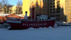 Finland/Winter: Ship In Frozen Bay Stock Footage