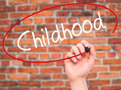 Man Hand writing Childhood with black marker on visual screen Stock Photos