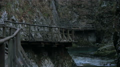 Wooden path at the famous Vintgar Canyon, near Bled Stock Footage