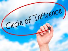 Man Hand writing Circle of Influence with black marker on visual screen Stock Photos
