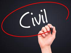 Man Hand writing Civil with black marker on visual screen Stock Photos