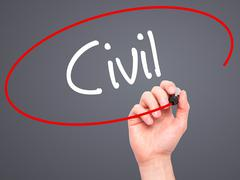 Man Hand writing Civil with black marker on visual screen - stock photo