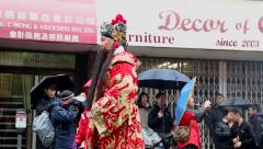 Male wearing Chinese Emperor costume walking on lunar parade Stock Footage