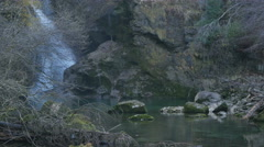 Waterfall with river Radovna flowing through rocks, Bled Stock Footage