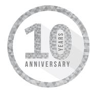 Stock Illustration of 10 year anniversary triangle shape sign pattern