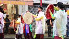 Women dancing traditional chinese dance on street folk festival Stock Footage