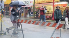 Vancouver rain, China town, people walking Stock Footage