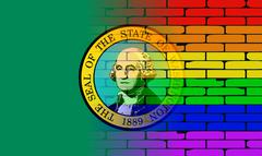 Gay Rainbow Wall Washington Flag - stock illustration