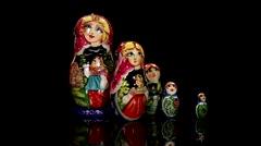 Russian Dolls-Matryoshka Stock Footage