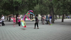 Colorful ribbon dancing in Temple of Heaven park in Beijing, China - stock footage