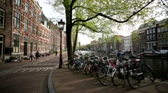 Walk along a street in the central area of Amsterdam. Stock Footage