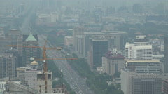 Thick smog covers Beijing's Chang'An avenue, air pollution in China - stock footage