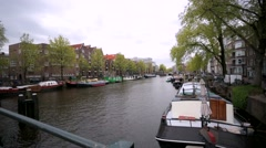 Walk along beautiful street in the central area of Amsterdam. Stock Footage
