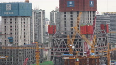 China construction site, welders, scaffolding, workers, downtown Beijing city Stock Footage