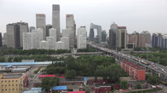 Modern Beijing skyline, view of central business district, skyscrapers Stock Footage