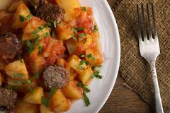 Potatoes with chorizo cooked Rioja style Stock Photos