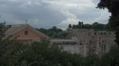 View of the Roman Forum and part of Septimius Severus Arch in Rome - stock footage