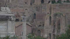 The Roman Forum and part of Arch of Septimius Severus in Rome - stock footage