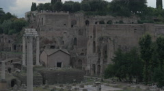 Columns and ruins of buildings in the Roman Forum, Rome - stock footage