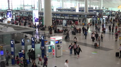 China travel, departure hall Beijing Capital International Airport Stock Footage