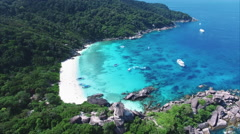 Similan Islands Whit Sand Beach With Blue Water & A Ship Stock Footage