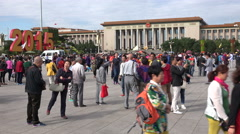 Beijing, people visit Tiananmen Square and the Great Hall of the People Stock Footage