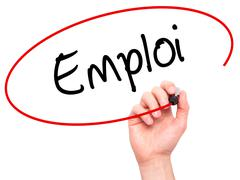 Man Hand writing Emploi (Employment in French) with black marker on visual sc - stock photo