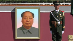 Stock Video Footage of Mao Zedong portrait, Chinese soldier, Tiananmen Square, politics, army, leader