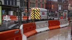 Manchester roadworks tilt, England, Europe - stock footage