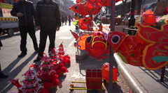 Chinese traditional lanterns sold in temple fair - stock footage