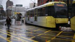 Electric Tram, Manchester, England, Europe Stock Footage