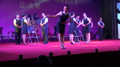 China commercial bank employees, performance on stage, anniversary celebration - stock footage