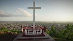 5 Wooden Cross On Holguin Hill In Cuba Stock Footage