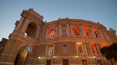Ukraine, Odessa Opera House, at evening, illuminated Stock Footage