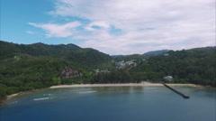 Phuket Thailand Backward Ascent Viewing Dock And Sea Shore - stock footage